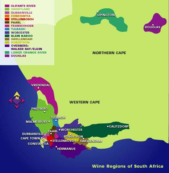 SA wine map